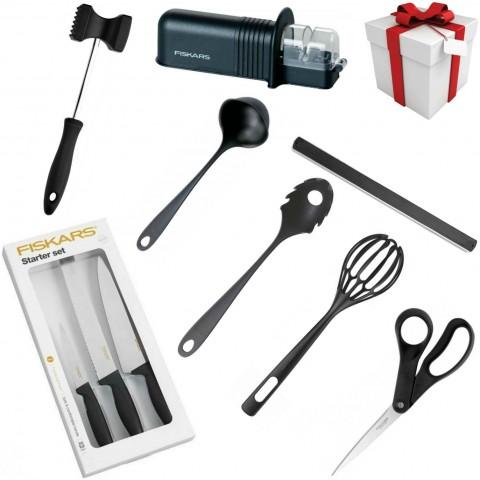 Darčekový set - Sada nožov, brúska na nože, 2x naberačka, metlička, magnetický držiak, tĺčik na mäso, nožnice
